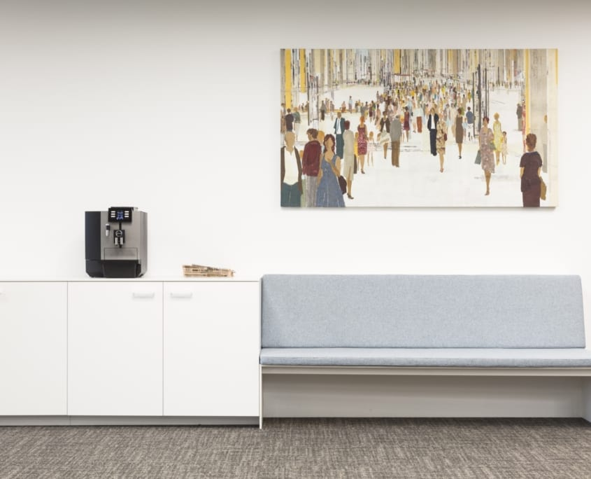 Personalized acoustic panel in a sleek office space