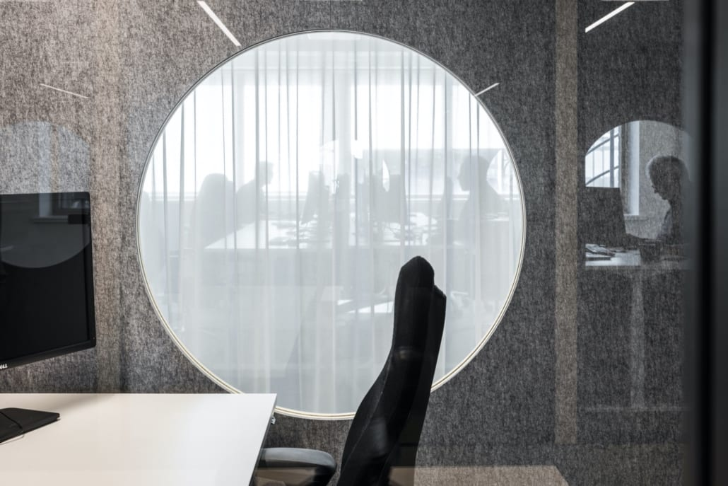 Sound-absorbing walls for the Volvo Trucks Ghent office