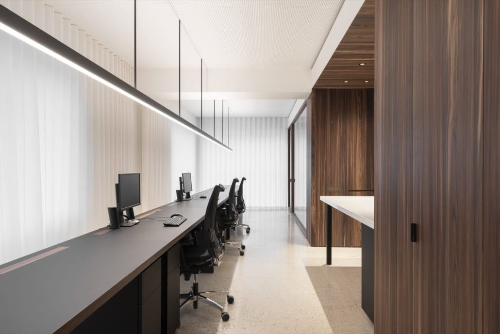 Acoustic white frost ceiling solution for Steeland-Declercq