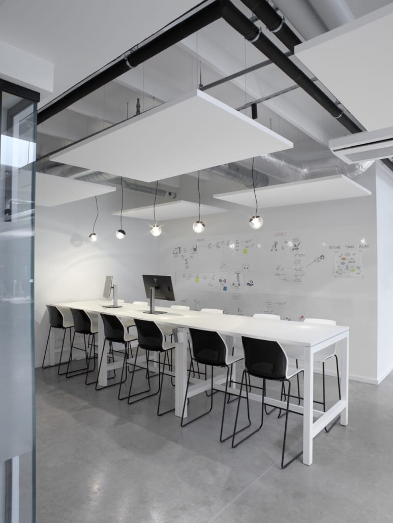 White PETAC © ceiling islands in a modern office