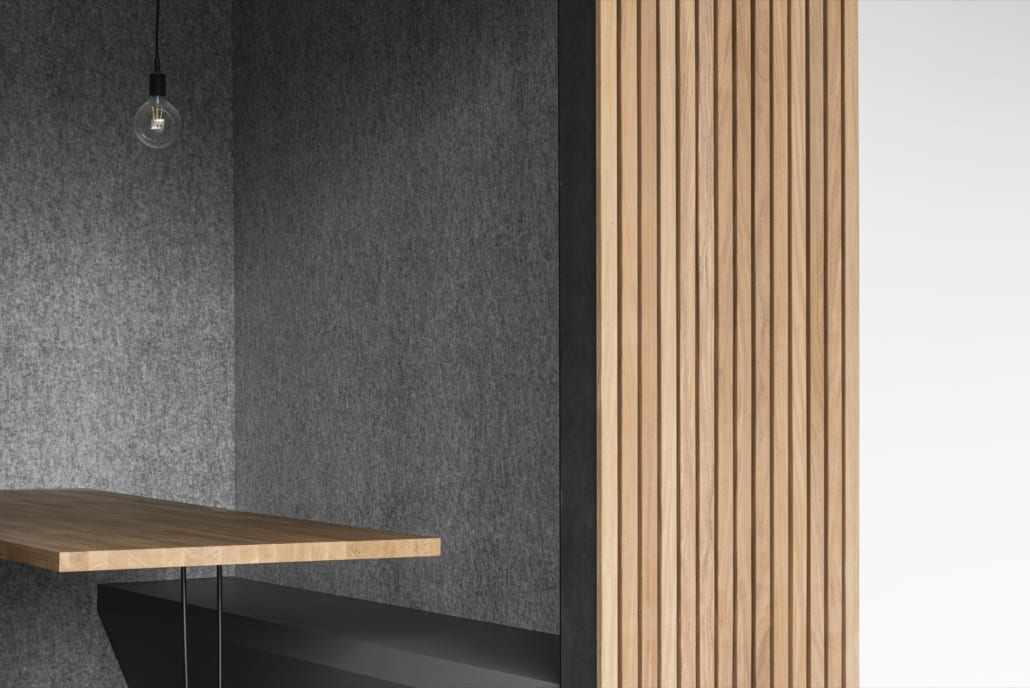 Acoustic wall with open pod